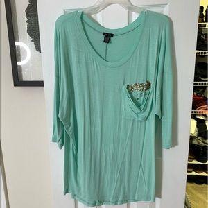 Light Blue Shirt w/ Jeweled Pocket Rue 21 XL